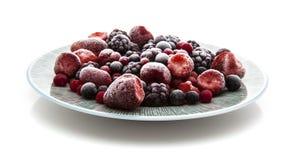 Plaat van bevroren fruit stock afbeeldingen