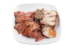 Plaat van Chinees Geroosterd Varkensvlees stock afbeeldingen