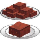 Plaat van Chocoladezachte toffee Brownies Stock Afbeeldingen