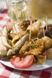 Plaat van de wijn Grieks voedsel van mezesvoorgerechten Royalty-vrije Stock Fotografie