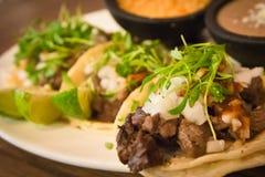 Plaat van drie taco's van de straatstijl Stock Afbeelding