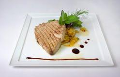 Plaat van fijne het dineren maaltijd Stock Foto