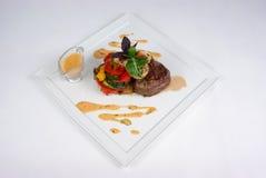 Plaat van fijne het dineren maaltijd Stock Foto's