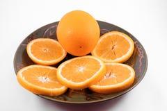 Plaat van GeïsoleerdeA Sinaasappelen Stock Fotografie