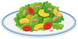 Plaat van groene salade royalty-vrije illustratie