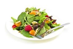 Plaat van groene salade op witte achtergrond royalty-vrije stock afbeeldingen