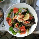 Plaat van grote salade met zalm en haringen Royalty-vrije Stock Foto's