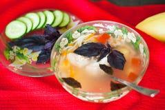Plaat van heerlijke soep met kip, deegwaren en basilicum Royalty-vrije Stock Afbeelding