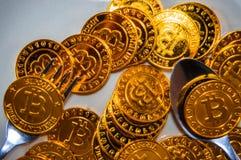 Plaat van het close-up de Zwarte voedsel, met lepel en gouden bitcoin op witte achtergrond royalty-vrije stock fotografie