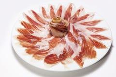 Plaat van Iberische ham Stock Foto