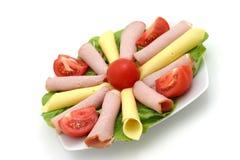 Plaat van kaas, varkensvlees stock afbeelding