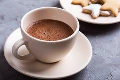 Plaat van Kerstmiskoekjes van de stervorm met gepoederde suiker en koppen van hete chocolade worden bestrooid die stock afbeeldingen