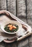 Plaat van spinazie en kaaskerrie Saag Paneer Stock Fotografie