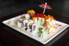 Plaat van sushi Stock Afbeeldingen