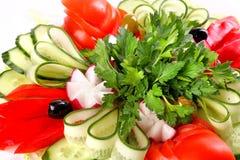 Plaat van verse groenten Stock Foto's