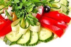Plaat van verse groenten Stock Afbeelding
