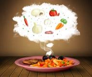 Plaat van voedsel met plantaardige ingrediëntenillustratie in wolk Royalty-vrije Stock Afbeeldingen