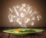 Plaat van voedsel met witte keukenpictogrammen Royalty-vrije Stock Afbeeldingen