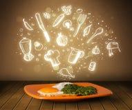 Plaat van voedsel met witte keukenpictogrammen Stock Foto