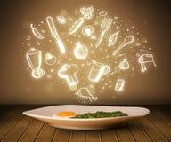 Plaat van voedsel met witte keukenpictogrammen Stock Afbeeldingen