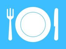 Plaat, vork, mes - vaatwerk Stock Afbeelding