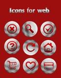 Plaats de pictogrammen van het ijzerweb Stock Fotografie