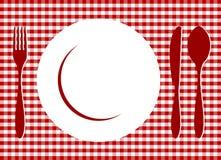 Plaats die op rood tafelkleed plaatst Stock Afbeeldingen