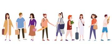 Plaats een menigte van mensenkarakters gaan over hun zaken, maken aankopen, houdende van enige paren, verkopers, kopers tendens vector illustratie