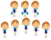 Plaats een mooi meisje in blauwe kleding Stock Foto