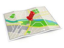 Plaats. Kaart en punaise. GPS concept. Stock Foto's