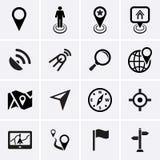 Plaats, Navigatie en Kaartpictogrammen Stock Foto's