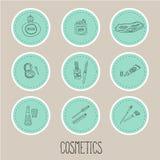 Plaats stickers van schoonheid en schoonheidsmiddelenpictogrammen Stock Fotografie