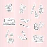 Plaats stickers van schoonheid en schoonheidsmiddelenpictogrammen Royalty-vrije Stock Foto