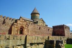 Plaats van de de Werelderfenis van Unesco van de Svetitskhoveli de Orthodoxe Kathedraal in Mtskheta, Georgië royalty-vrije stock foto's