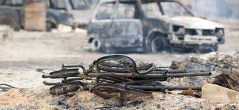 Plaats van een brand Stock Foto's