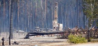 Plaats van een brand Stock Afbeeldingen