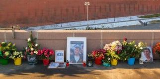 Plaats van moord van politicus Boris Nemtsov royalty-vrije stock afbeeldingen