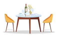 Plaats voor romantische datum Gereserveerd teken op lijst in restaurant Gereserveerd Lijstconcept rondetafel, met schotels, vaas, royalty-vrije illustratie