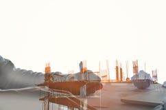 Plaatsbouw met uitstekende toon bij het evenning Stock Afbeelding