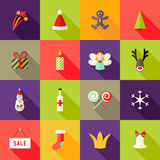 Plaatsen de Kerstmis Vierkante Vlakke Pictogrammen 3 royalty-vrije stock foto's