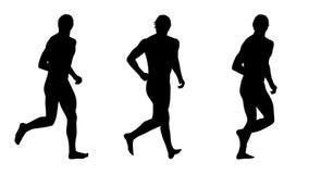 Plaatsen de mensen lopende silhouetten 4 Stock Afbeeldingen