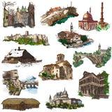 Plaatsen en architectuur - hoogtepunt - met maat handtekeningen royalty-vrije illustratie