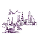 Plaatsen en Architectuur rond de Wereld vector illustratie