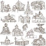 Plaatsen van Verering - schetsen uit de vrije hand op papier Stock Afbeeldingen