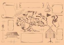 Plaatsing voor een koffie op een literair thema Motieven en karakters Stock Afbeeldingen