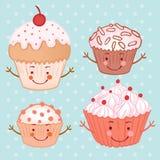 Plaatste beeldverhaal grappige cupcake (muffin) Royalty-vrije Stock Afbeeldingen