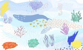 Plaatste de hand getrokken vector abstracte grote de illustratiesinzameling van de beeldverhaal grafische onderwaterwereld met ko vector illustratie