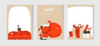 Plaatste de hand getrokken vector abstracte van het de tijdbeeldverhaal van pret Vrolijke Kerstmis inzameling van de illustraties Stock Afbeelding