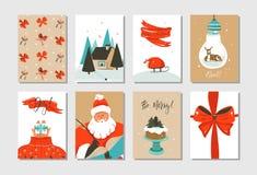 Plaatste de hand getrokken vector abstracte van het de tijdbeeldverhaal van pret Vrolijke Kerstmis de kaarteninzameling met leuke Royalty-vrije Stock Fotografie