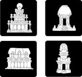 Plaatste het vlakke pictogram van India grijze 2 Stock Afbeelding